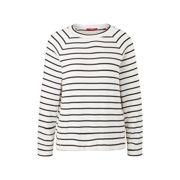 Strickjersey-Shirt mit Streifen - Langarmshirt