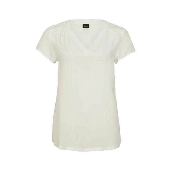 Blusenshirt mit Biesenfalten - Materialmix-Shirt