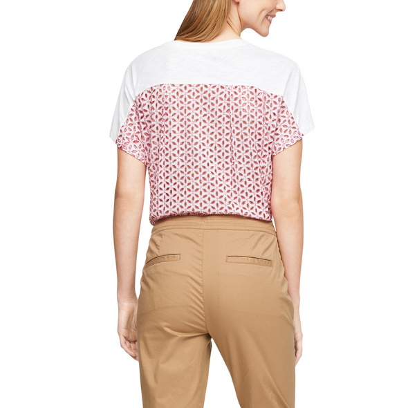 Materialmix-Shirt mit Fledermausärmeln - Blusenshirt
