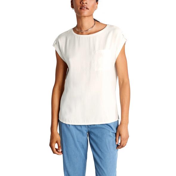 Jerseyshirt mit Blusenfront - Materialmix-Shirt