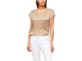 Jerseyshirt mit Front aus Seide - Materialmix-Shirt