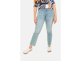 Ulla Popken Jeans Sammy, Fransensaum, schmale 5-Pocket-Form - Große Größen